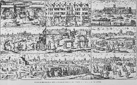 Pictorial depiction of the Great Plague (circa 1665). The top left scene is in a bedchamber with a person laid out on the floor and a coffin. A scene on the middle right shows a mass grave site. In the very center, people are shown carrying cof